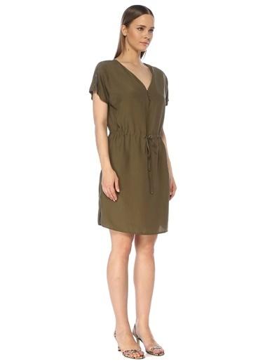 NetWork Kadın 1075258 V Yaka Beli Büzgülü Midi Elbise Haki